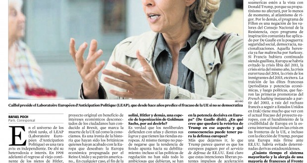 "Marie-Hélène Caillol: ""They destroyed the EU"" (interview by la Vanguardia, 30/12/2016)"