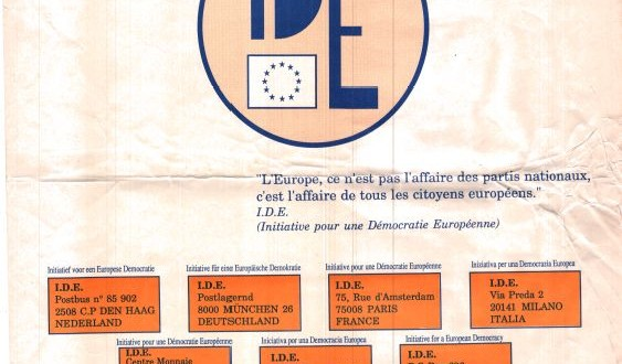 It is clear that  the existing national political parties can not serve two masters: national and European (Franck Biancheri, IDE 1989)