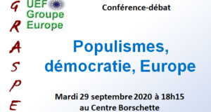 Populisms, democracy, Europe – Online conference, Tuesday 29th of September 2020 at 18.15